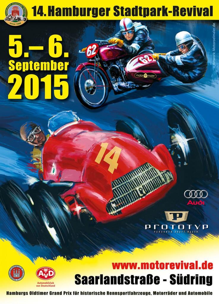 Das Plakat zeigt eine Alfetta mit J.M. Fangio und ein 1930er Jahre Renngespann