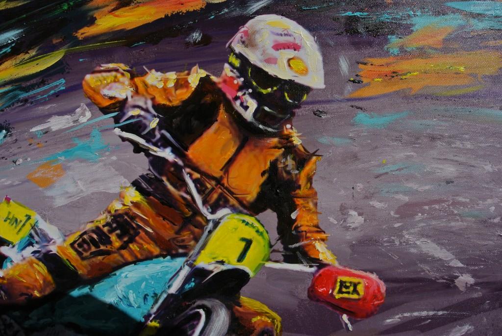 Egon Müller, ein Weltmeister gemalt in Motoröl und Acryl